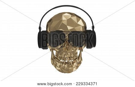 The Golden Low Poly Skull Dj With White Background 4k