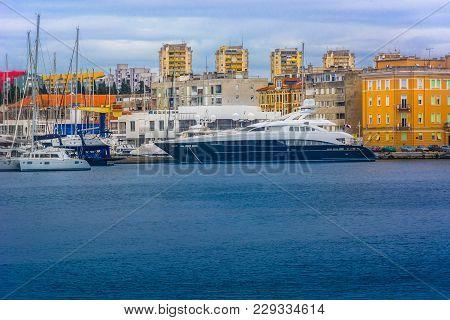 Seafront View At Zadar City Harbor In Dalmatia Region, Croatia Mediterranean.