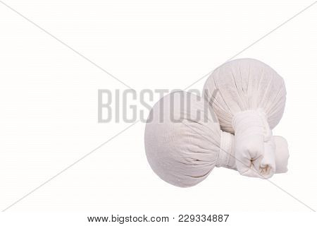 Hot Herbal Massage Compress With White Background.