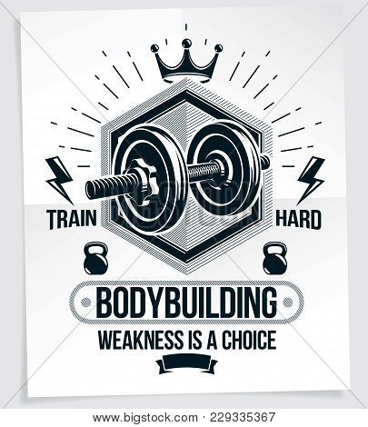 Weight-lifting Vector Motivation Poster Composed Using Disc Weight Dumbbell And Kettle Bell Sport Eq