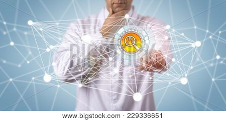 Unrecognizable Scientific Researcher Contemplating Data Findings. Technology Concept For Drug Discov