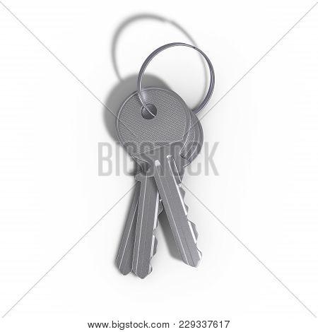 Key On A White Background. 3d Illustration.