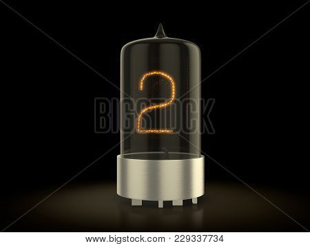 Nixie Tube Number Two On A Black Background. 3d Illustration.