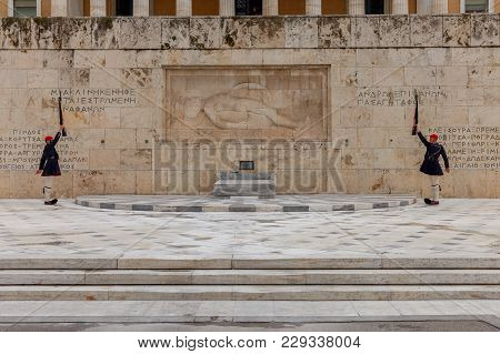 Athens, Greece - February 16, 2018: Soldiers Of Honor Guard And The Presidential Guard Evzones In Fr