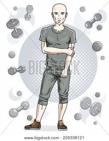 Handsome Bald Young Man Is Standing On Simple Background With Dumbbells And Barbells. Vector Illustr