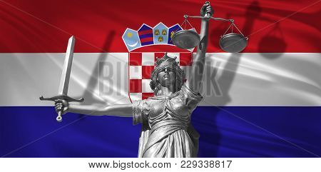 Cover About Law. Statue Of God Of Justice Themis With Flag Of Croatia Background. Original Statue Of