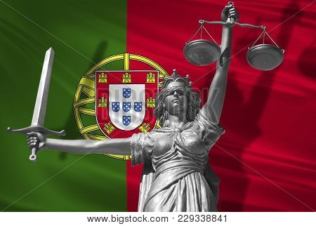 Cover About Law. Statue Of God Of Justice Themis With Flag Of Portugal Background. Original Statue O
