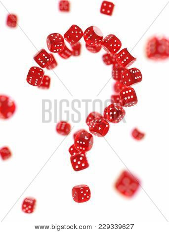 Question Mark Made Of Red Gambling Dices Isolated On White Background. Risk Behind Gambling Concept