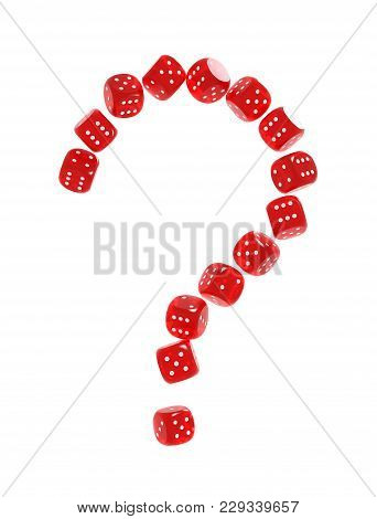 Question Mark Made Of Red Gambling Dices. Risk Behind Gambling Concept