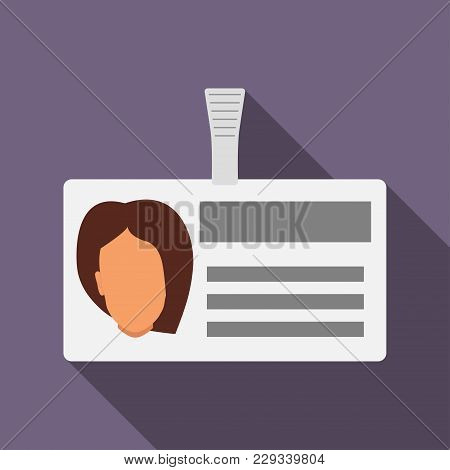 Name Tag Badge With Woman S Head Silhouette. Plastic Horizontal Badge With Clasp. Name Card Icon Wit