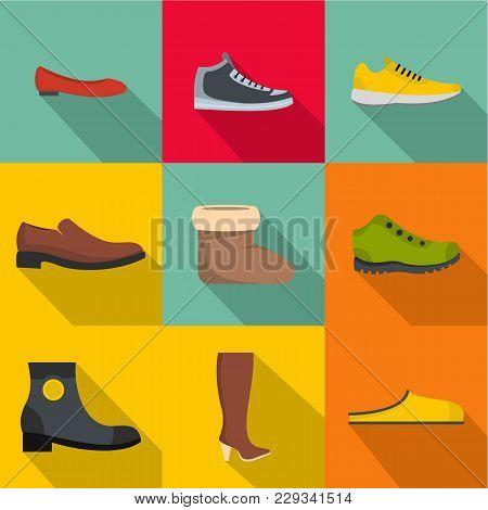 Comfortable Footwear Icons Set. Flat Set Of 9 Comfortable Footwear Vector Icons For Web Isolated On
