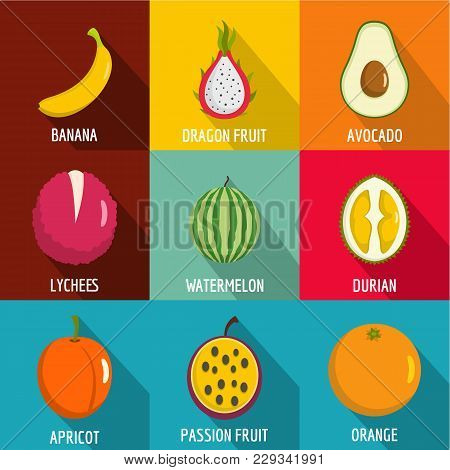 Fruit Nutrition Icons Set. Flat Set Of 9 Fruit Nutrition Vector Icons For Web Isolated On White Back