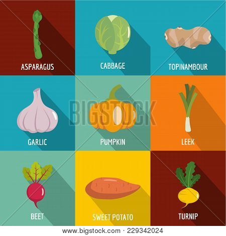 Mixed Vegetable Icons Set. Flat Set Of 9 Mixed Vegetable Vector Icons For Web Isolated On White Back