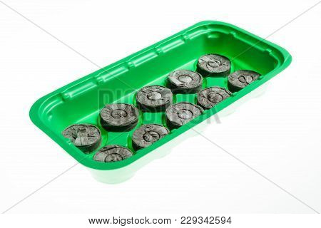Round Peat Moss Pellets For Seedlings On Green Plastic Tray, Isolated On White.