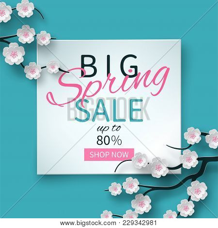 Spring Sale Floral Banner With Paper Cut Blooming Pink Cherry Flowers On Blue Background For Seasona
