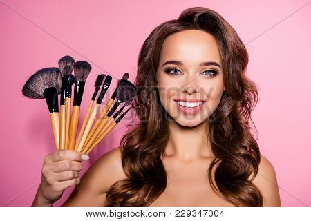 Decorative Cosmetics, Pampering, Healthcare Perfection Concept. Close Up Of Cheerful Nude Gorgeous C