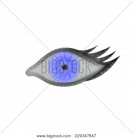Eye With Polygon, Line, Connecting Dots On White. Polygonal Low Poly Design With Triangles. Science