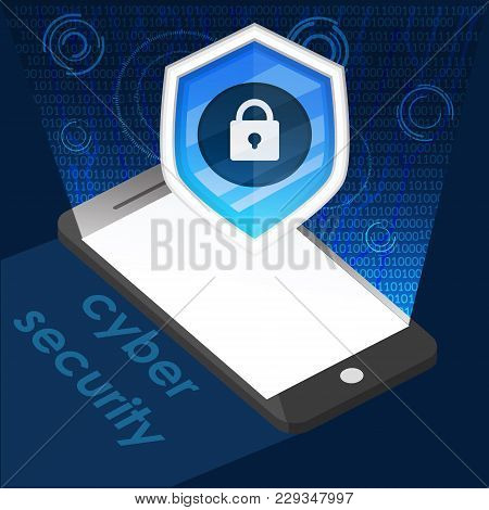 Phone And Icon Cyber Security Background Graphic Vector Illustrations