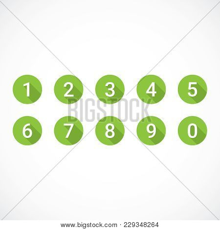 Set Of 0-9 Numbers. Set Of Green Number Icons