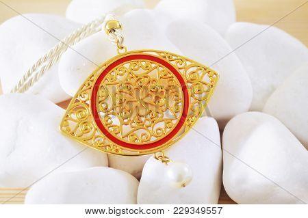 Gold Byzantine Necklace - Expensive Greek Evil Eye Jewelry
