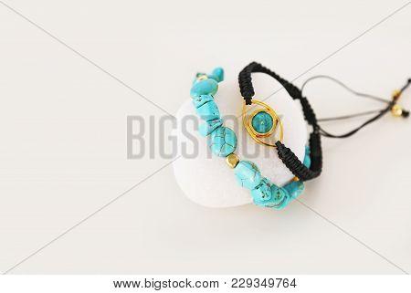 Greek Jewelry - Turquoise Gemstone Bracelet - Evil Eye Bracelet