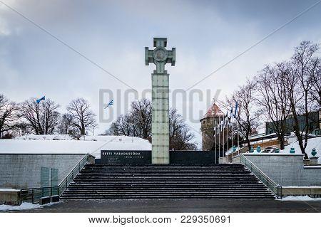 Tallinn, Estonia - February 2018: Freedom Square In Winter, The Old Town In Tallinn, Estonia. It Is