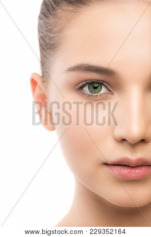 Portrait Of Beautiful Young Brunette Woman With Clean Face. Beauty Spa Model Girl With Perfect Fresh
