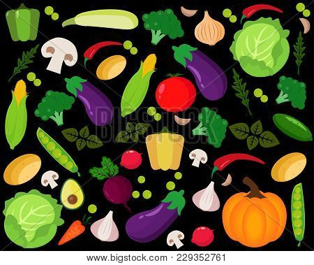Set Of Different Kinds Of Vegetables Icons. Collection Of Flat Design Icons Presenting Different Typ