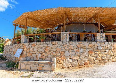 Zakynthos, Greece - October 1, 2017: Coastal Tavern Next To The Porto Roxa Beach. Zakynthos Island,