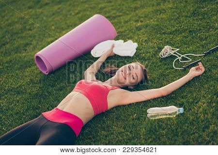 Well Done! I Made It! Exhausted Cheerful Sportive Woman Is Relaxing After A Fitness Workout Session,