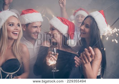 X Mas Miracle, Shine! Dancing Festive Crowd Of Youth On Luxury Feast, In Classy Outfits, So Glamorou