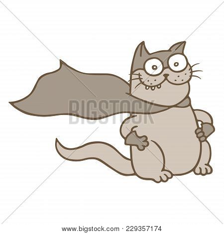 Cartoon Cat Superhero In Mask And Raincoat. Funny Cool Warrior Character. Vector Illustration.