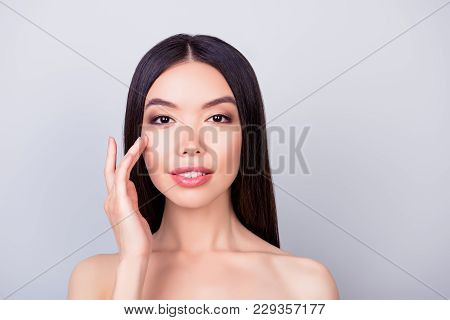 Women Beauty And Health, Wellbeing Concept. Young Pretty Korean Brunette Lady Is Touching Gently Her