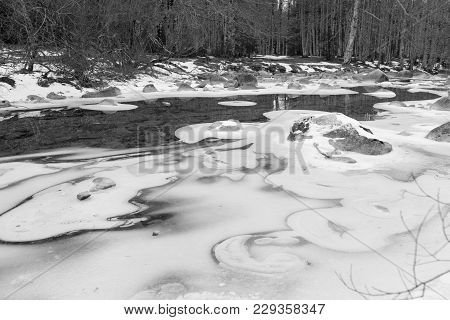Frozen River In Ordesa National Park Of Spain, Black And White Photography, Big Size