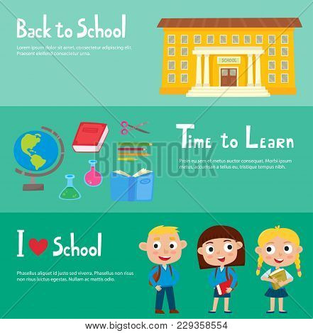 School Horizontal Banner Set With School Building, Isolated School Supplies, Happy Pupils: Boy And G