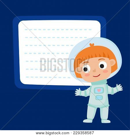 Cute Little Red-haired Girl Astronaut With A Blank Poster For Your Text Entry Isolated On Blue Space
