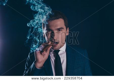 Close Up Portrait Of Attractive, Stunning, Intelligent, Metrosexual Man Fuming Away, Holding Cigar I