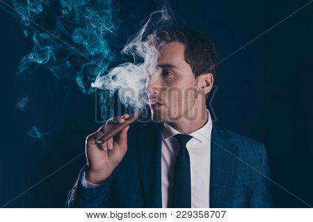 Half Turned Face Portrait Of Attractive, Stunning, Intelligent, Elegant, Stylish Man Fuming Away, Ho