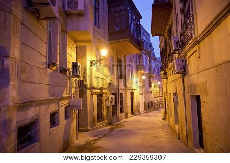 The Fortress Gates Of The Old City In The Illumination . Icheri Sheher In Night Baku. Azerbaijan . G