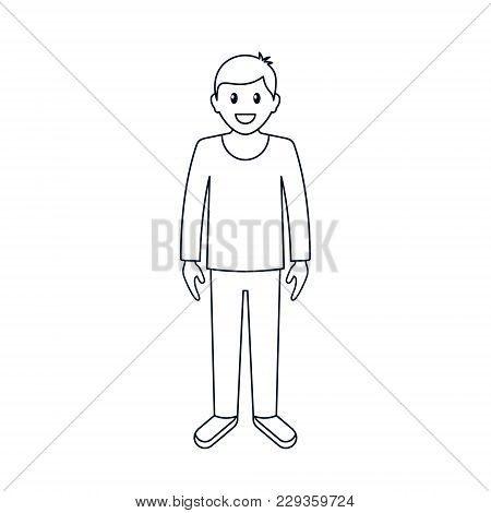 Cartoon Guy Or Man In Casual Clothes, Front View. Vector Line Illustration.