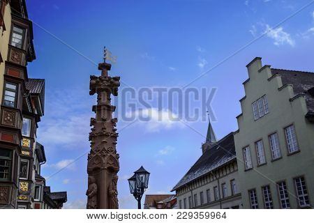 Fountain Of The Apostles In The Historic Center Of Rottweil, Germany