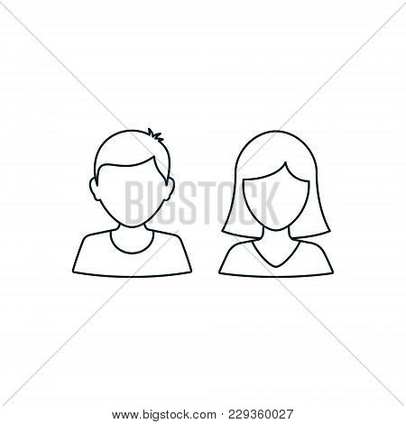 Man And Woman User Outline Icon Avatar Profile. Vector Silhouette Male And Female Line Symbol.