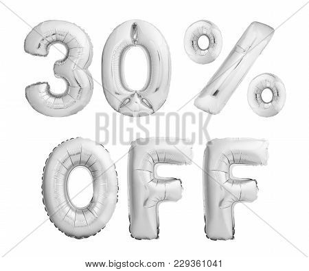 Thirty Percent Off Discount. Silver Chrome Balloons Isolated On White Background