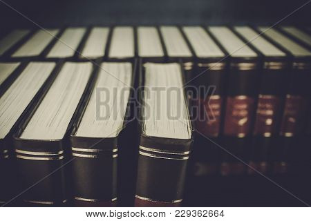Old Books On A Bookshelf. Education Concept