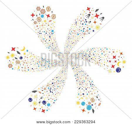 Space Symbols Curl Burst. Element Flower Organized From Random Space Symbols Symbols. Vector Illustr