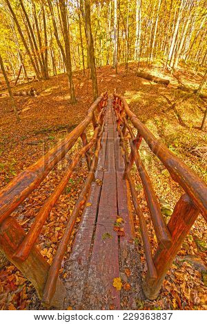 Hand Crafted Foot Bridge In The Fall Forest In Palisades- Kepler State Park In Iowa