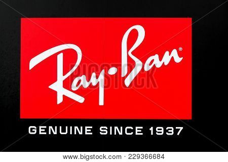 London, United Kingdom - January 31, 2018: Ray-ban Logo On A Wall. Ray-ban Is A Brand Of Sunglasses
