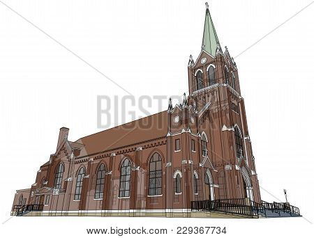 The Building Of The Catholic Church, Views From Different Sides. Three-dimensional Illustration On A