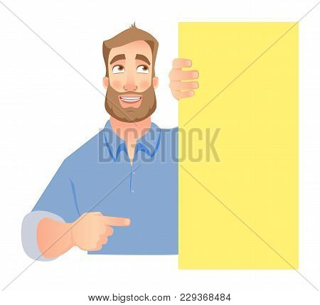 Man Holding Blank Signboard, Shy Businessman Pointing To Banner.  Illustration Set