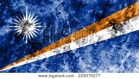Old Marshall Islands Grunge Background Flag, Vintage Look